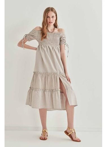 Vitrin Kollar Büzmeli Gipeli Country Elbise Vizon